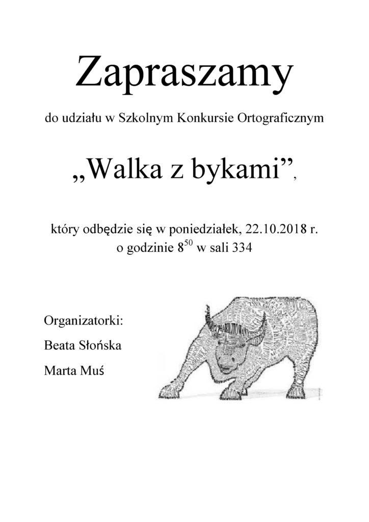 Szkony konkurs ortograficzny 'Walka z bykami'